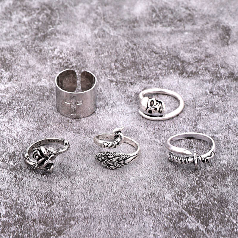 1PC Gothic Punk Hollow Cross Skeleton Rose Ring Women Men Vintage Silver Color Sword Peacock Animals Open Ring Jewelry R149