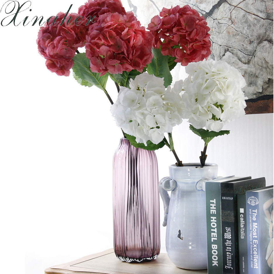 XINAHER Amazing colorful decorative flower for wedding party luxury artificial Hydrangea silk DIY flower decoration for home