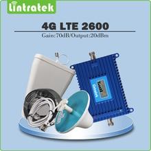 Gain 70dB 4G LTE 2600 Signal Booster 4G LTE 2600 mhz (Bande 7) Mobile Signal Répéteur ensemble complet avec LPDA/Plafond Antenne + 15 M Câble