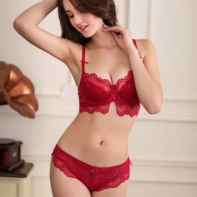 fashion fresh and elegant ultra-thin cotton comfortable soft gauze lace female underwear bra set