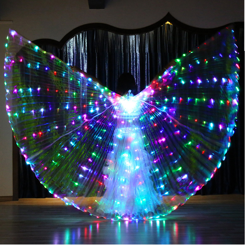 Halloween Performance Prop Belly Dance Accessory Light Up 360 Degree Wing Costume Butterfly Wings Starry Lights Twinkling