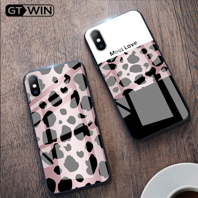 Luxury Tempered Glass Case For iPhone Leopard Print Protective Phone Back Cover Case Shell