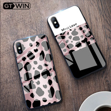 Funda de cristal templado de lujo GTWIN para iPhone Xs Max Xr X 8 7 6 6s Plus protección con estampado de leopardo carcasa trasera para teléfono