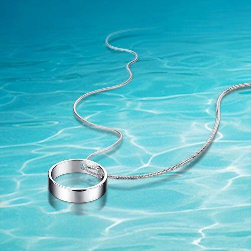 232d3301e460 Las mujeres 925 collar de plata pura  círculo Colgantes  collar clásico  simple accesorios de moda  venta al por mayor aceptable  styl caliente!