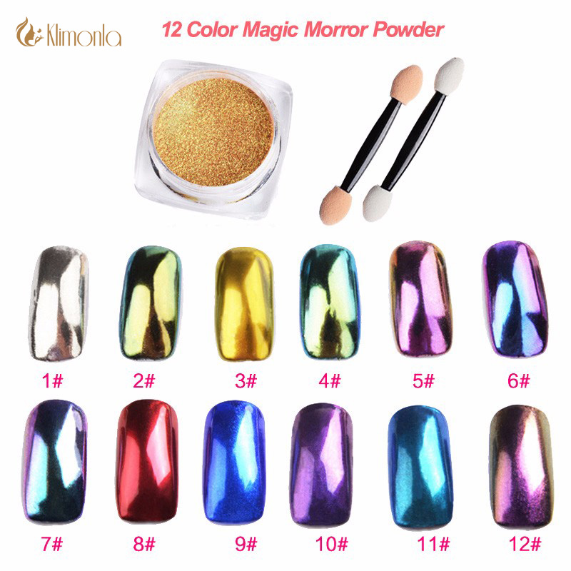 2 g / doos Magic Mirror Effect Poeders Glitter Nagel Chameleon Multichrome Nail Art Gel Polish Chrome Pigment Nagel Decoraties Poeder