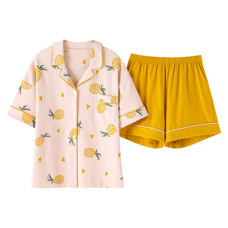 New Summer 2019 Loose   Pajama     Sets   Women Cute Pineapple Print 2 Pieces   Set   Short Sleeve Top + Shorts Elastic Waist Pyjamas S93223