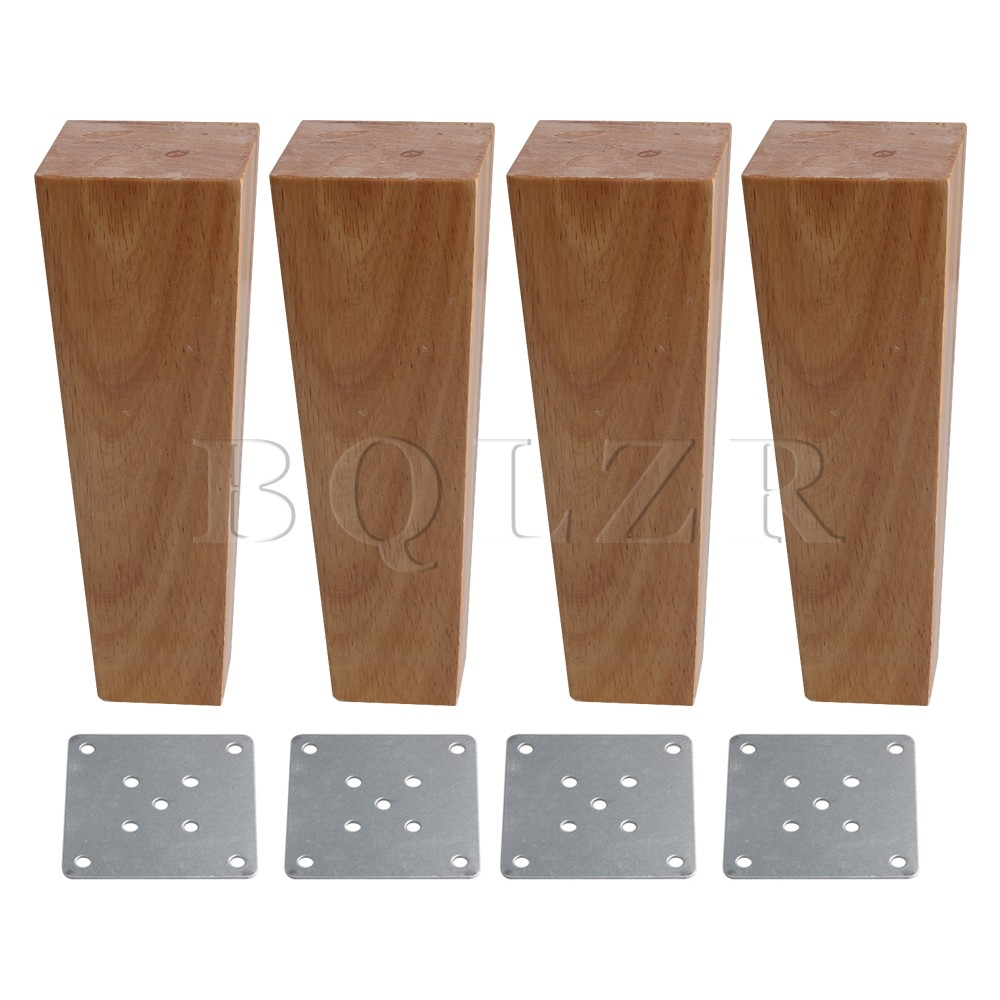 BQLZR 4 Pieces Wooden Right Angle Trapezoid Sofa Feet 18CM Height 4x6CM Surface