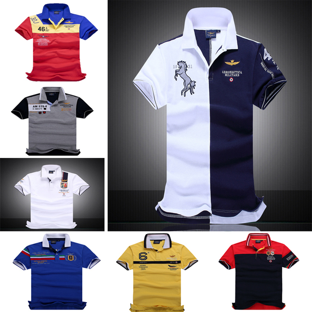 New 2016 air force one Top Quality embroidery men's Aeronautica militare Men Shirts  Brand POLO diamond Fashion shark clothing