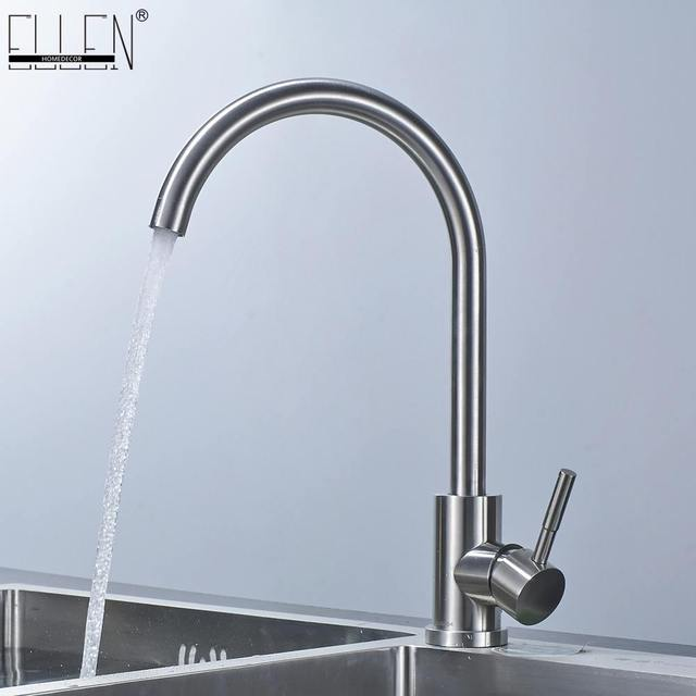 Stainless Steel Kitchen Faucet Single Hole Brushed Nickel Swivel Kitchen  Sink Hot And Cold Water Mixer