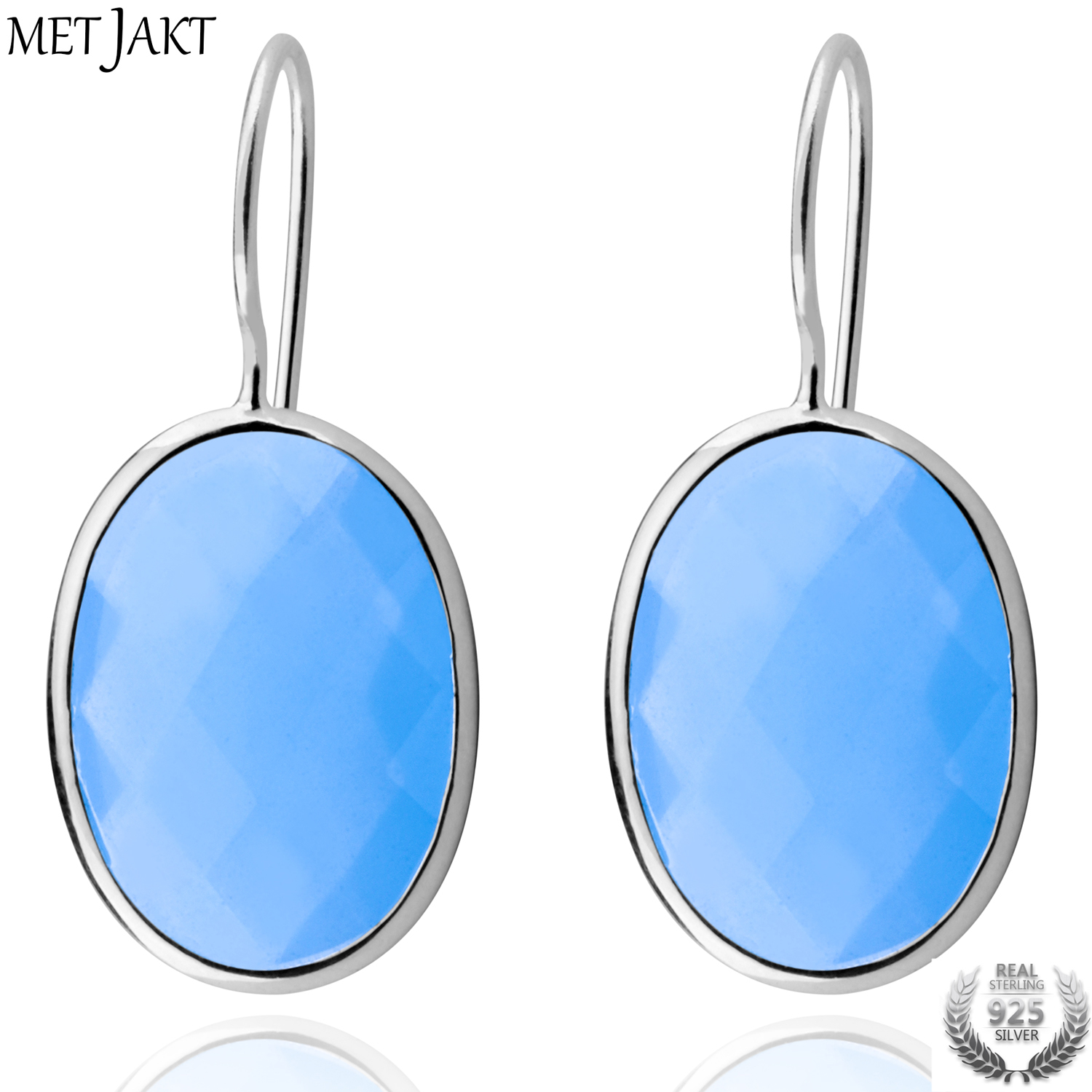 MetJakt Fashion Classic Water Drop Sky Blue Agate Earrings Solid 925 Sterling Silver Earring for Lady Wedding Party Fine Jewelry metjakt bohemia natural agate white chalcedony drop earrings with zircon solid 925 sterling silver earring for women jewelry