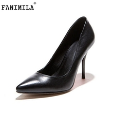 women real genuine leather classics pointed toe high heel shoes woman sexy fashion brand pumps ladies shoes size 33-42 R7195