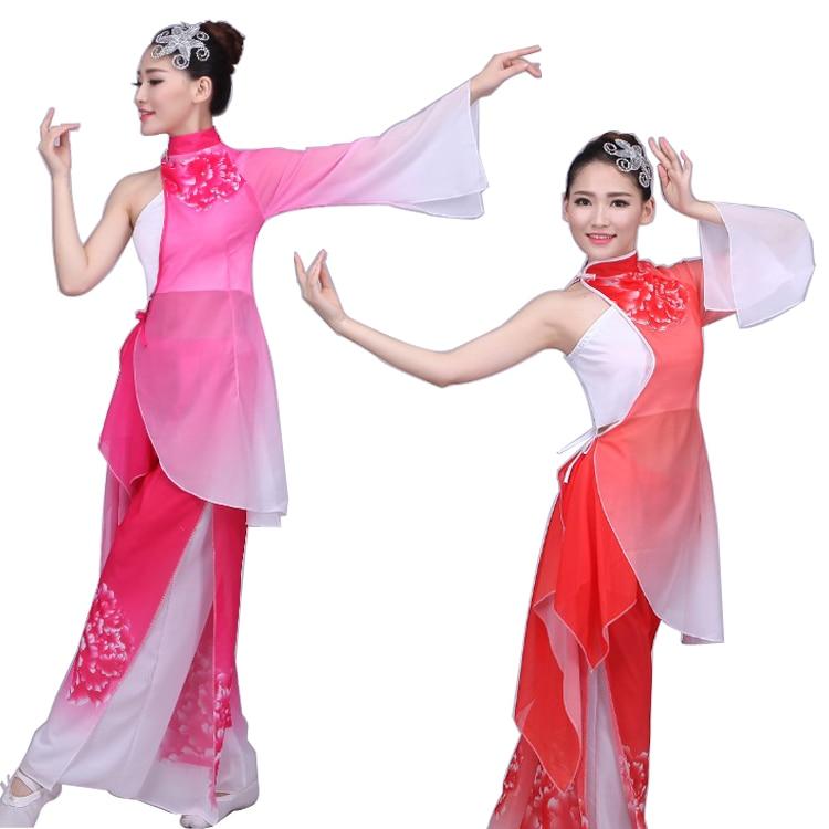 Pion Kvinnor Kinesisk Folkdansdräkt Storärmad Kvinnlig Yangko Dansdräkt 3 St National Paraply Dance Clothing 89