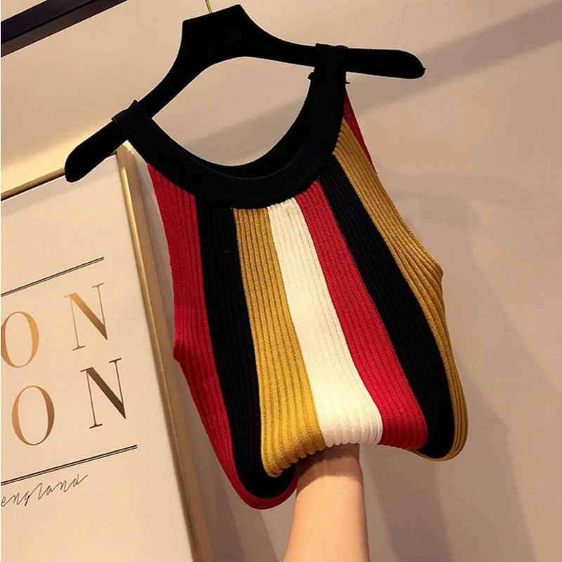 Caliente 2019 verano ropa de mujer tanque de punto a rayas chaleco Sexy dama Honda Slim camiseta sin mangas camisetas a rayas TB03