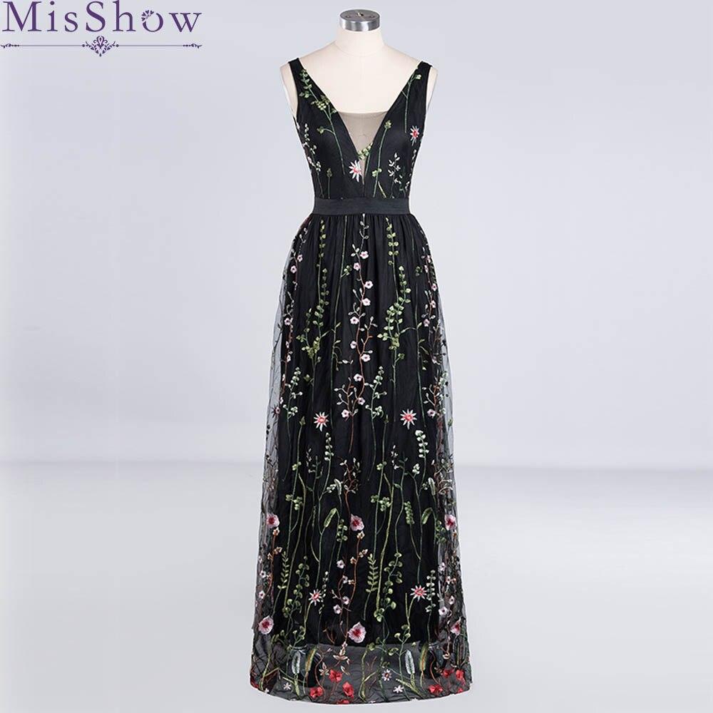 2019 Elegant   Evening     Dress   Embroidery Flower Sleeveless Women abendkleid Black Formal Wedding Party   Dresses   Prom Gown