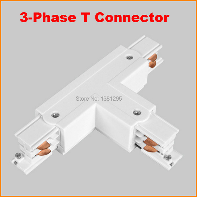 3 Phase Circuit 4 Wire Square LED Track Light Rail T Shape Connector  Aluminum Track Accessories