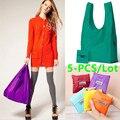 5 PCS/LOT Polyester Fiber shopping Bag Hanging Organizer Closet Organizer Home Organization Foldable Shopping Bag Women Bag