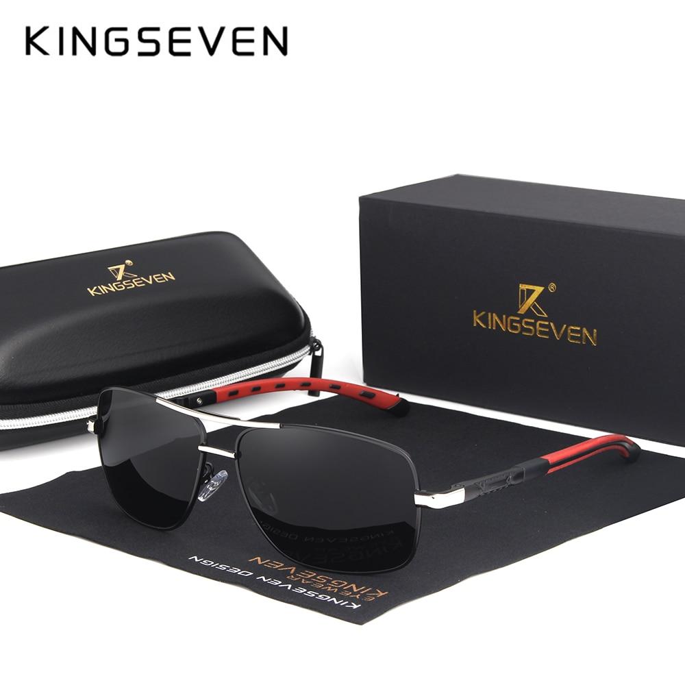 KINGSEVEN 2018 Marke Männer Aluminium Sonnenbrille HD Polarisierte UV400 Spiegel Männlichen Sonnenbrille Frauen Für Männer Oculos de sol N724