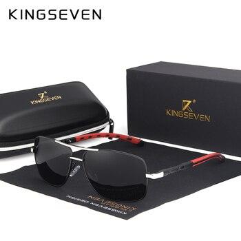 KINGSEVEN 2019 ยี่ห้อผู้ชายอลูมิเนียมแว่นตากันแดด HD Polarized UV400 กระจกแว่นตาชายชายหญิง Oculos de sol N724