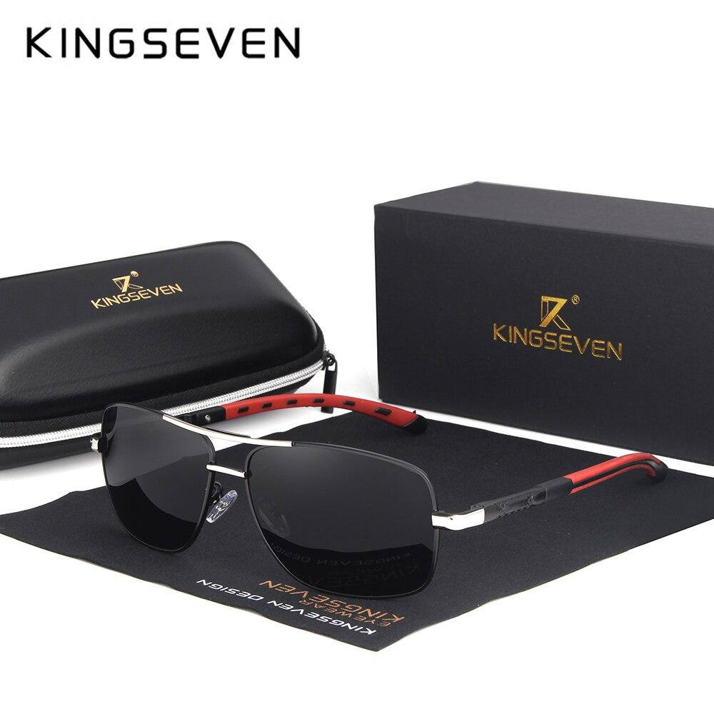 KINGSEVEN 2019 Marke Männer Aluminium Sonnenbrille HD Polarisierte UV400 Spiegel Männlichen Sonnenbrille Frauen Für Männer Oculos de sol N724