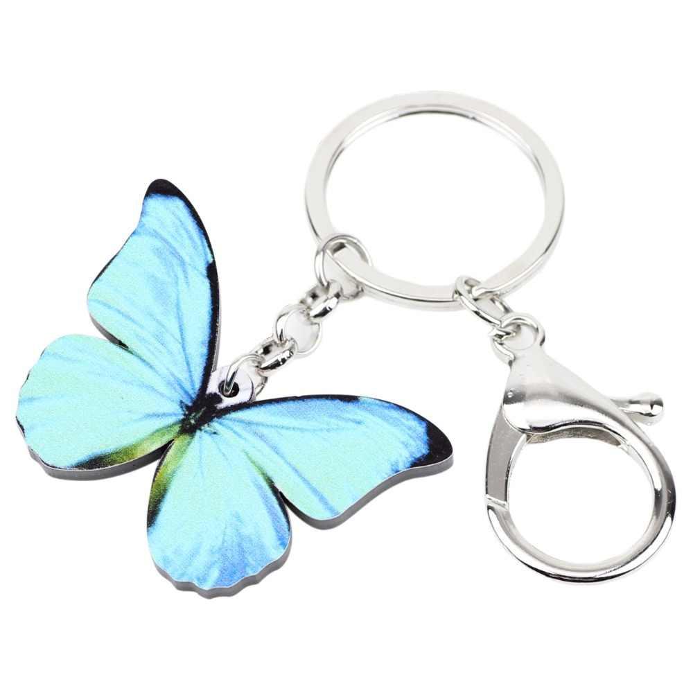 Bonsny de acrílico patrón Morpho menelao mariposa Cadena clave anillo bolso encanto llavero joyería animal de moda para las mujeres