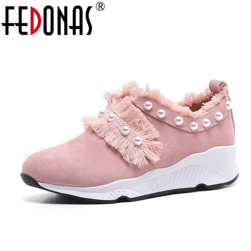 FEDONAS Women Spring Autumn Sneakers Brand Genuine Leather Sweet Beading Female Casual Shoes Round Toe Flats Shoes Woman asumer white spring autumn women shoes round toe ladies genuine leather flats shoes casual sneakers single shoes