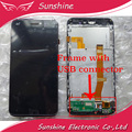 Tested LCD For ViewSonic V500 V500-3 Coship F2 LCD Display Screen Touch Digitizer Panel Assembly with Frame and USB Flex Cable