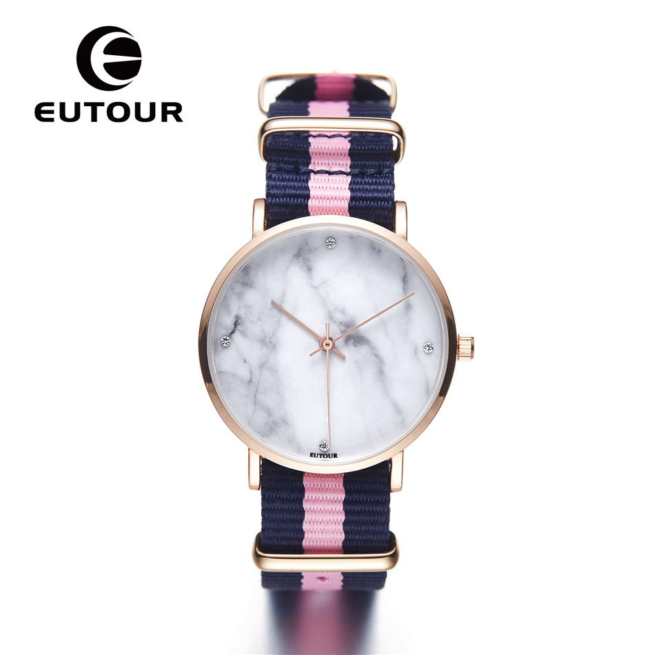 EUTOUR Ultra Thin Geneva Marble Watch Women Simple bracelet Nylon bling watches Ladies dress Quartz Wristwatches rose gold Clock 2016 luxury brand ladies quartz fashion new geneva watches women dress wristwatches rose gold bracelet watch free shipping