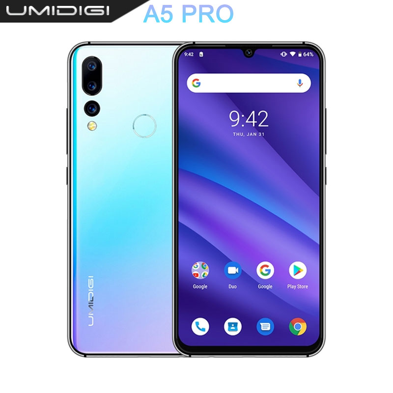 UMIDIGI A5 PRO Android 9.0 Octa Core 32GB 6.3 'FHD + Waterdrop 16MP Triple caméra double 4G 4150mAh 4GB RAM 4G celulaire Smartphone