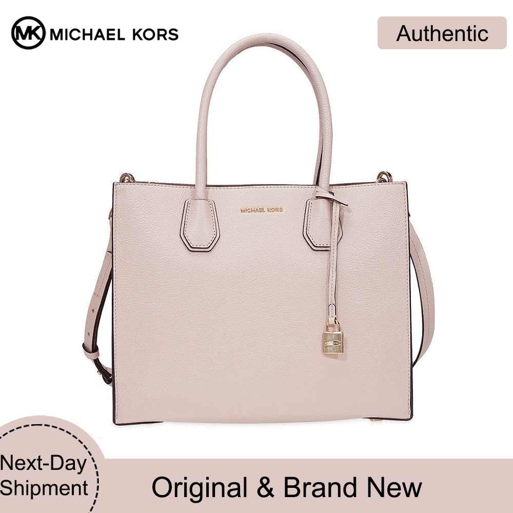 sneakers for cheap professional website most reliable Michael Kors Studio Mercer Leather Tote Large Pink Rose ...