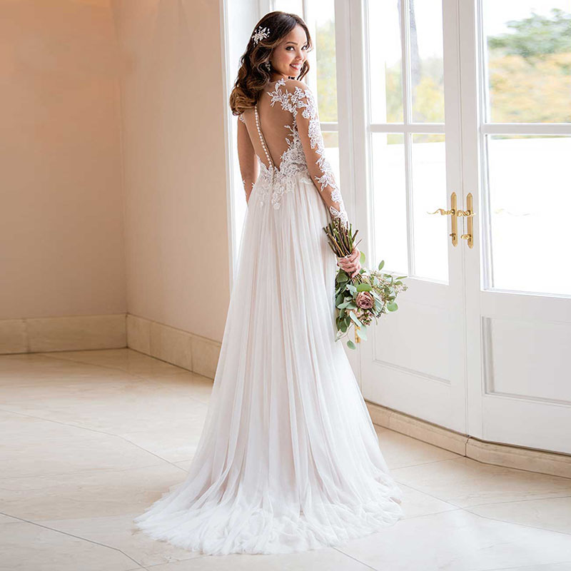 Wedding Dress With Long Sleeves 2019 Vestido de noiva Vintage Lace Top Tulle Skirt Button Bridal Dresses Sweep Train-in Wedding Dresses from Weddings & Events