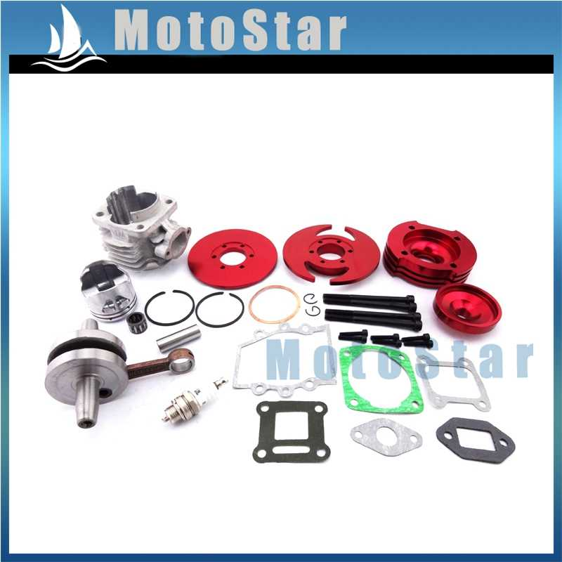 Red Pocket Bike 44mm Big Bore Kit Cylinder Assy For 2 Stroke 47cc 49cc Engine Chinese Mini Dirt ATV Quad 4 Wheeler Minimoto
