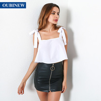OUBINEW Summer 2017 Tank Top Women European And American Beach Holiday Bow With A Pure Lotus