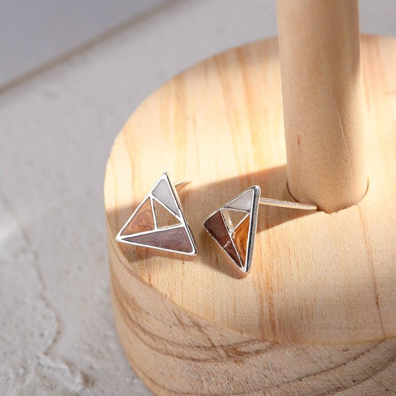 Lidavi 925 Silver Earrings Female Japanese Wind Simple Triangle Earrings Trend Geometric Enamel Earrings For Women Gift VES6201