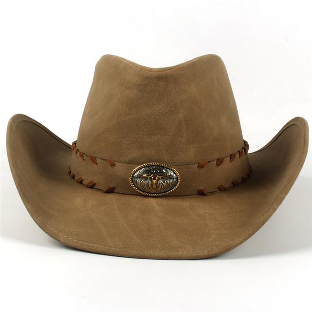 9 Stlye Western Cowboy Hat For Women Men Leather Sombrero Hombre Jazz Caps With Tauren Belt Size 58CM