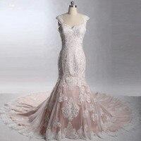 LZ242 2018 New Design Bare Pink Mermaid Wedding Dress Especial Lace Bridal Dresses Vestido De Noiva