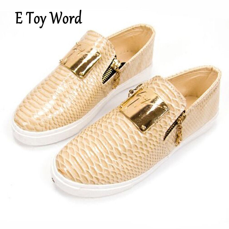 E TOY WORD Spring Documentary Shoes Women Thick Muffin Round Head Flat Side Zipper Metal Four Seasons Patent Leather Woman Flats e toy word canvas shoes women han edition 2017 spring cowboy increased thick soles casual shoes female side zip jeans blue 35 40