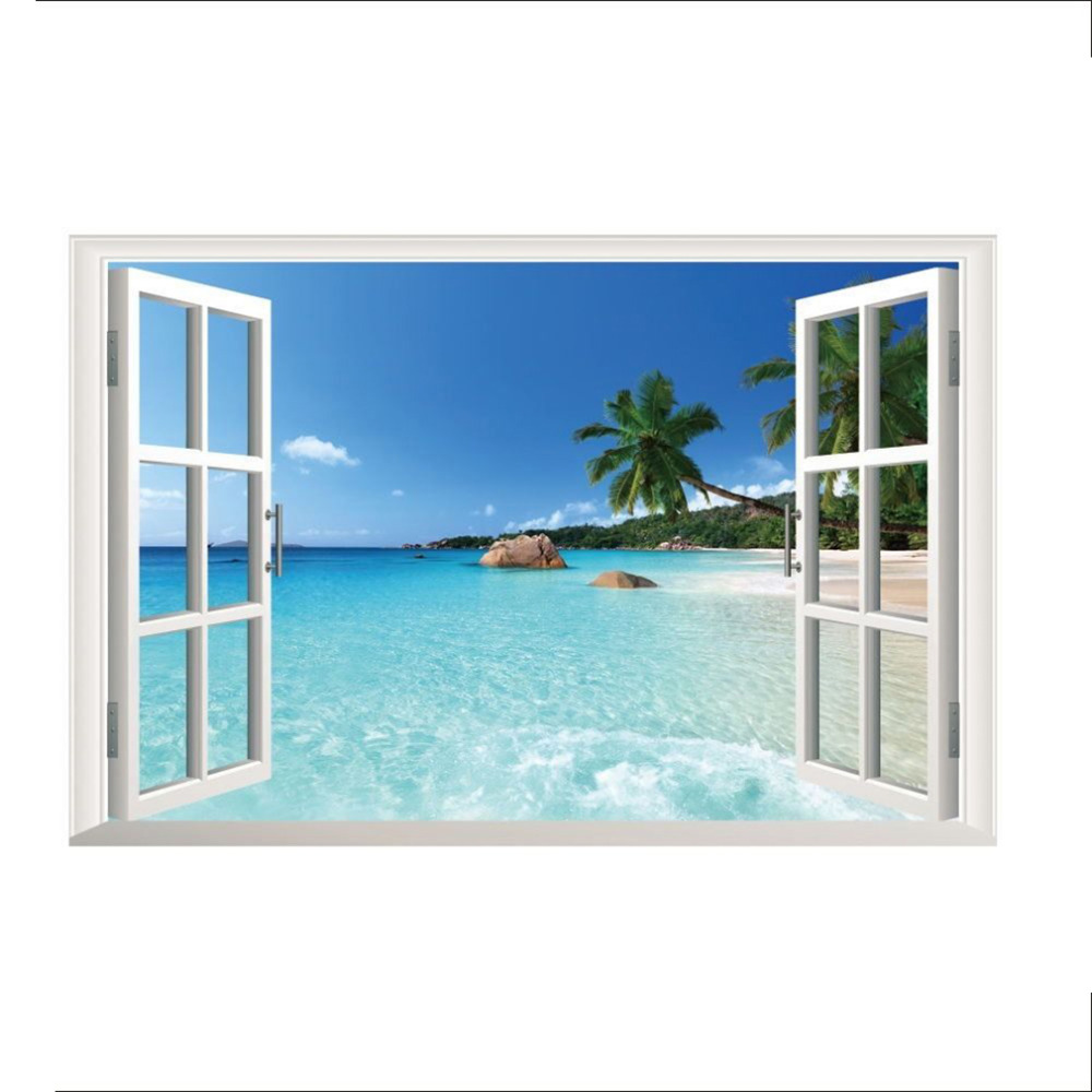 Free Shipping 35.4*23.6ZY1430 Beach Resort 3D Window View Removable Wall Art Sticker Vinyl Decal Mural home decoration removable sexy hair spa female face sticker art decor mural design for indroom decoration