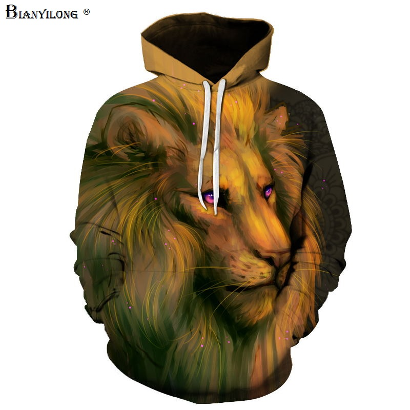 BIANYILONG Winter Fashion Lion Ancient Digital Printing Men Women Hooded Hoodies Cap Windbreaker Jacket 3d Sweatshirts
