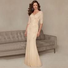 Mode Perlen Spitze Formales Kleid Glamorous Doppel V Halbe Hülsen-abendkleider 2016 Nach Maß Vestido de Noite Longo
