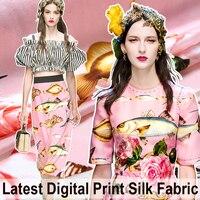 110CM Wide Fish Princess Pink Silk Fabric For Summer Clothing Dress Blouse Skirt E294