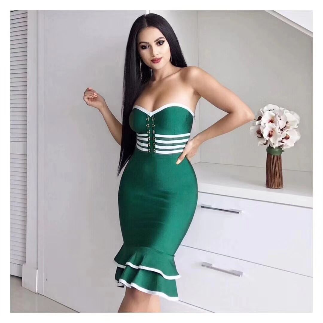 2019 femmes Sexy épaule dénudée volants moulante robe queue de poisson Midi Club dos nu célébrité robe de soirée