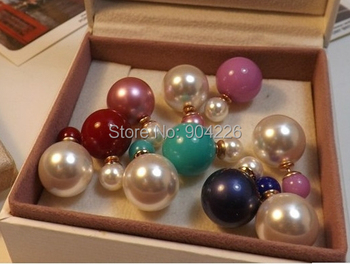 20 pairs studs/lot fashion women's big simulated pearl candy piercing statement wedding stud earrings double faced