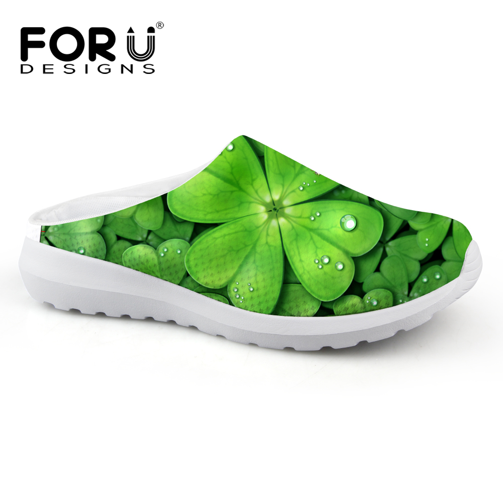 Casual Women Sandals Summer Shoes Mesh Breathable Green Leaf Clover Garden Shoes Outdoor Mules & Clogs Slip-on Women Slippers casual women sandals 2017 summer shoes mixed color mesh breathable garden shoes outdoor mules