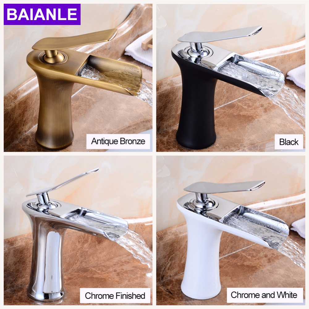 Deck Mounted Basin Faucet Bathroom Antique Bronze Waterfall faucet Mixer Tap Hot and Cold Water Black Brush Chrome Finished new arrival matte black or oil rubbed bronze or chrome tap basin cold and hot fashion square single hole bathroom faucet