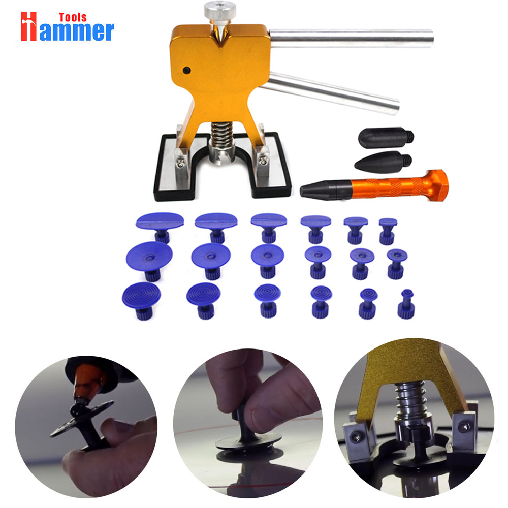 PDR KING Dent Removal Tools Dent lifter with 18pcs Different Size Glue Tabs 3 heads Gold Tap Down Pen Hand Tool Sets     - title=