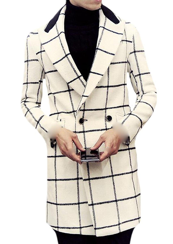 Binn Mens Fashion Plaid Slim Fit Premium Double Breasted Pea Coat