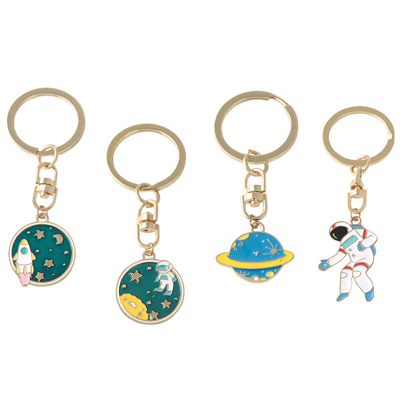Romantic Universe Gifts I Can Fly Necklaces UFO Space Craft Astronaut Rocket Planet Spaceman Stars Hard Enamel KeyRing Key Chain