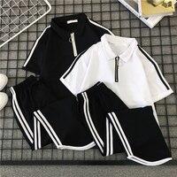 2 Piece Set Women Striped Casual Streetwear Zipper Sport Tracksuit Women Tops T shirt +pants Harajuku Women Two Piece Outfits