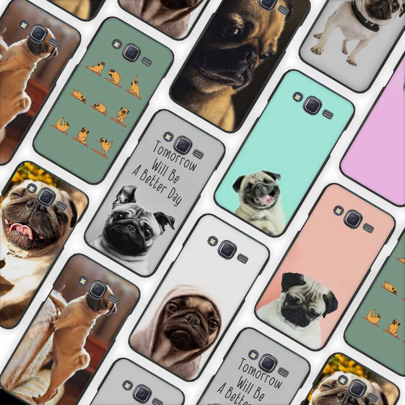 Funny Pug Doing Yoga Black Case Cover Shell for Samsung Galaxy J1 J3 J2 J5 J7 Prime 2016 2017