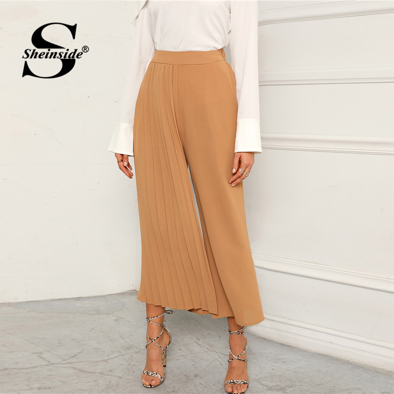 Sheinside Khaki Elegant Pleated Panel   Wide     Leg     Pants   Women 2019 Spring Elastic Waist Crop Trousers Ladies Solid Mid Waist   Pants